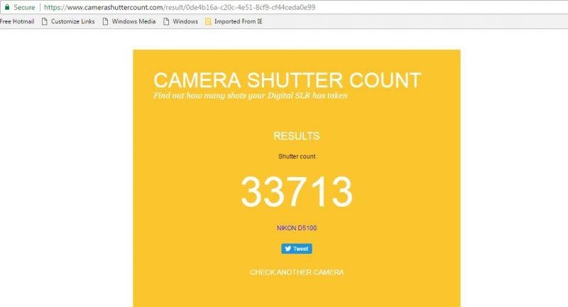 Shutter count -